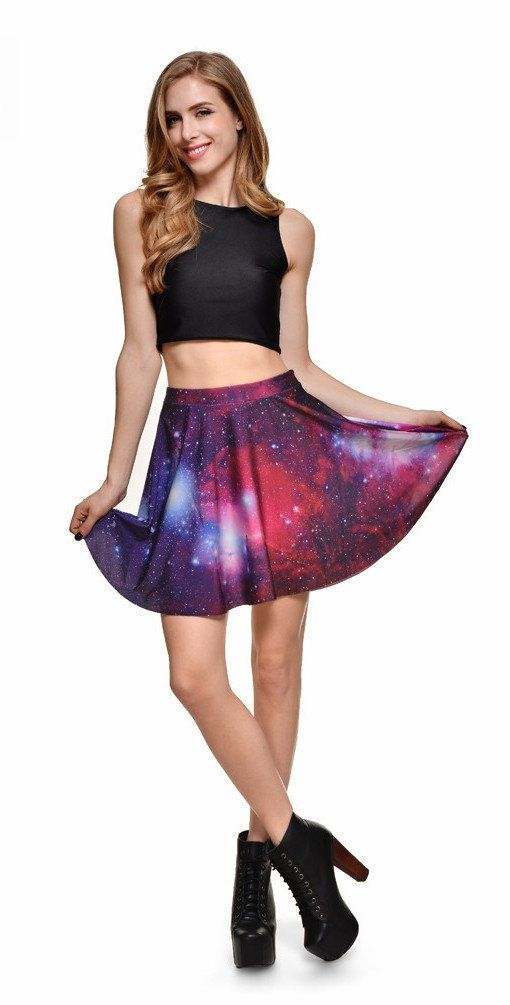 Lovely styles Adorable Galaxy Skirt Shoot for the stars with this adorable galaxy print mini skirt. This Skirt is soft, breathable and flexible, ready to show off your gorgeous body. Its fashion design makes you sexy and charming to be a beautiful view. Don't miss it!  Elastic waistband,fits most figures