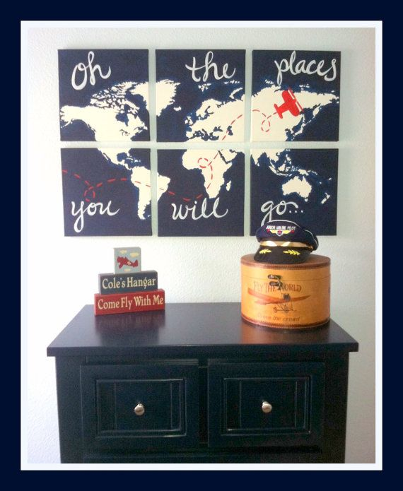 Would be so cute in a little boys room! come fly with me. world map with airplane. 6 12x12 by sincerelyYOU
