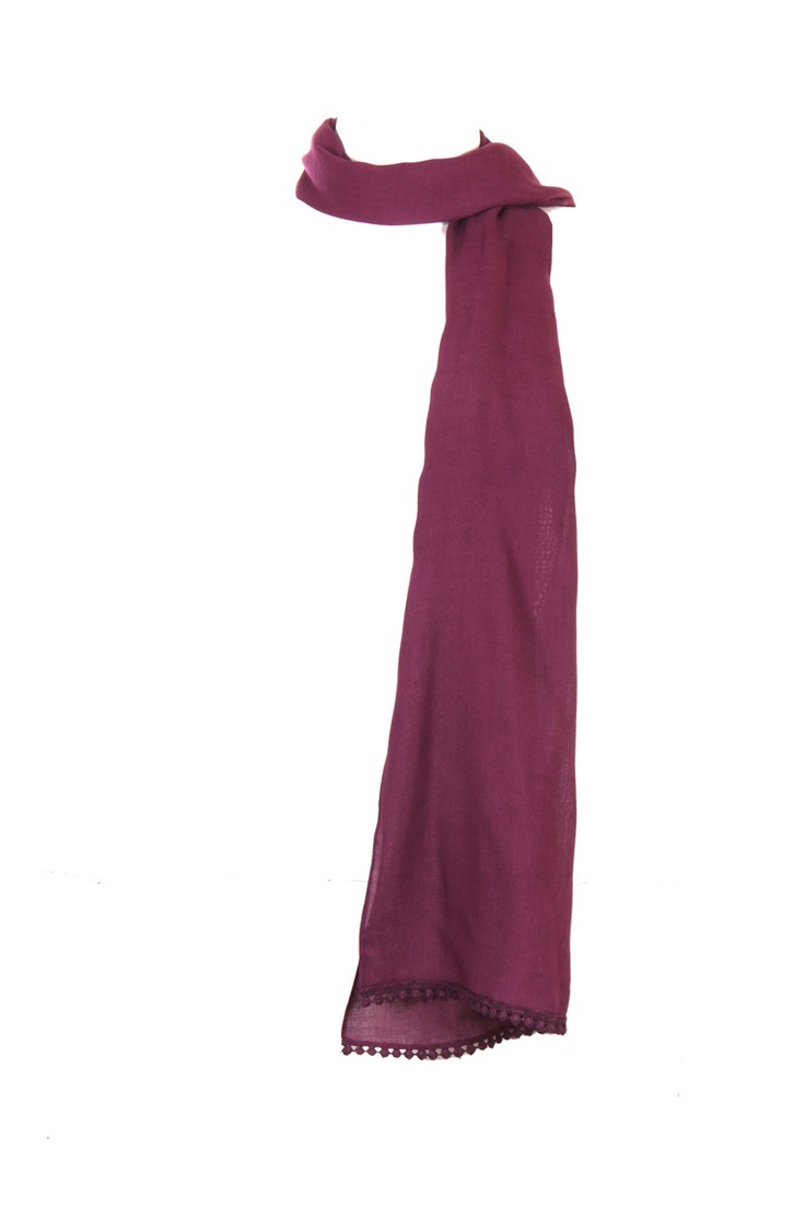Purple Solid Dupatta With Lace Detail Running Along The Widths; 100% Viscose; 2.25M In Length; Non Crinkled #Fashion #Style #Colors #Drapes #W for #Woman