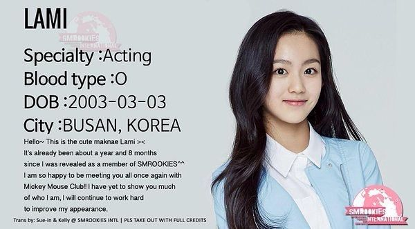 ;  all About Lami (라미) #lami #라미 #kimsungkyung #김성경 #sr16g #SMROOKIES #SMTOWN #SMENT #smentertainment