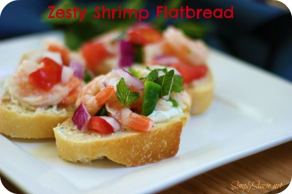 Zesty Shrimp FlatbreadFood Appetizers, Spicy Shrimp, Shrimp Baguette, Shrimp Appetizers, Shrimp Flatbread, Zesty Shrimp, Food Recipe, Seafood Fish, Flatbread Recipe