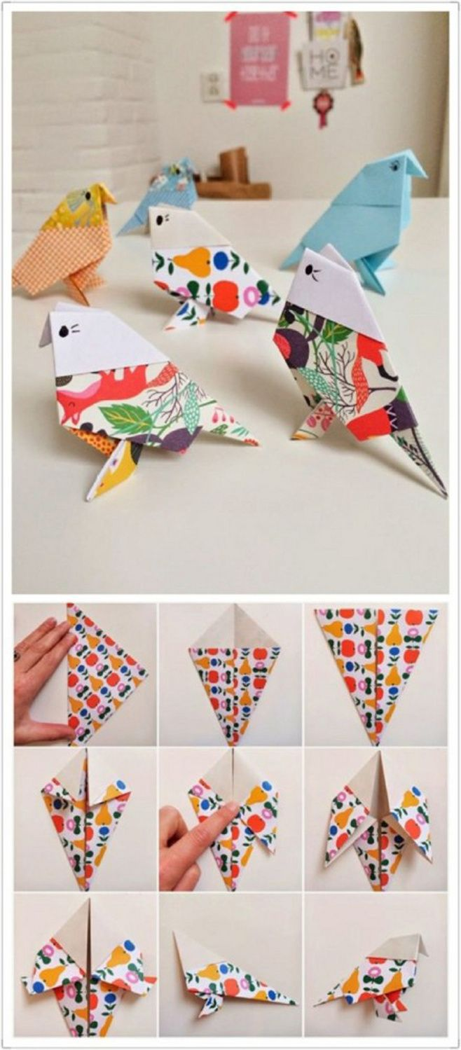 How to make a paper bird!  Very easy, just need some paper and your hands, follow our pictures and you will create one soon!