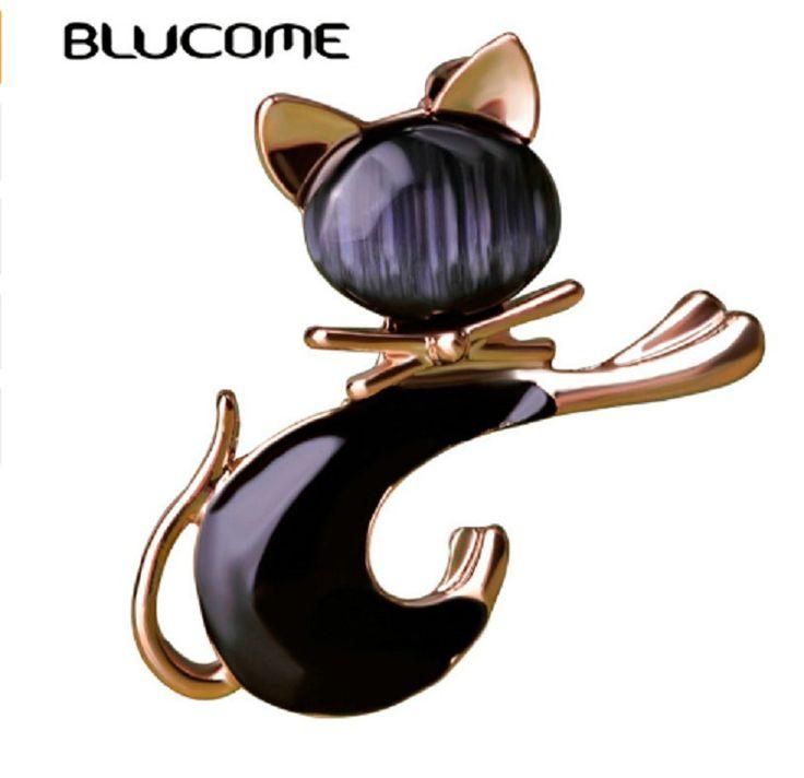 1 шт.Blucome милый черный кошка брошь эмаль,искуственный опал для девочек,женщин #Blucome