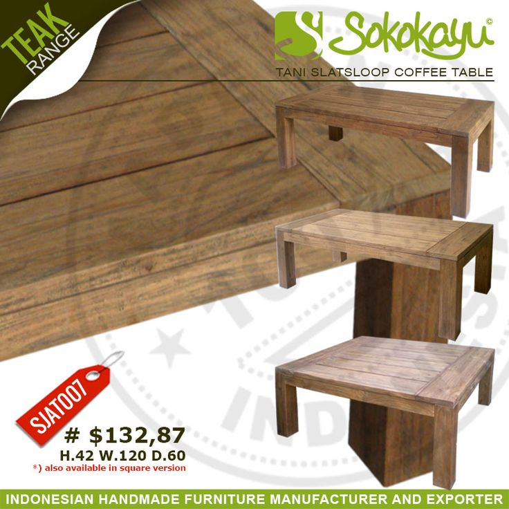 Timeless simple ‪#‎Handmade‬ ‪#‎TeakFurniture‬ ‪#‎Tani‬ ‪#‎CoffeeTable‬ from ‪#‎sokokayu‬. Browse more @ http://www.sokokayu.com/2015/06/tani-slatsloop-coffee-table.html
