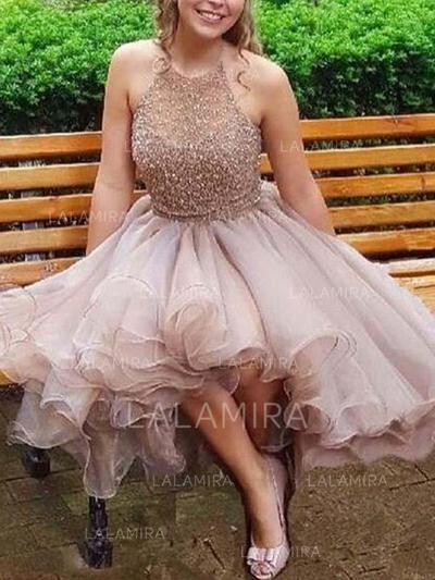 4f90018e6d5  US  137.00  A-Line Princess Halter Short Mini Homecoming Dresses With  Beading