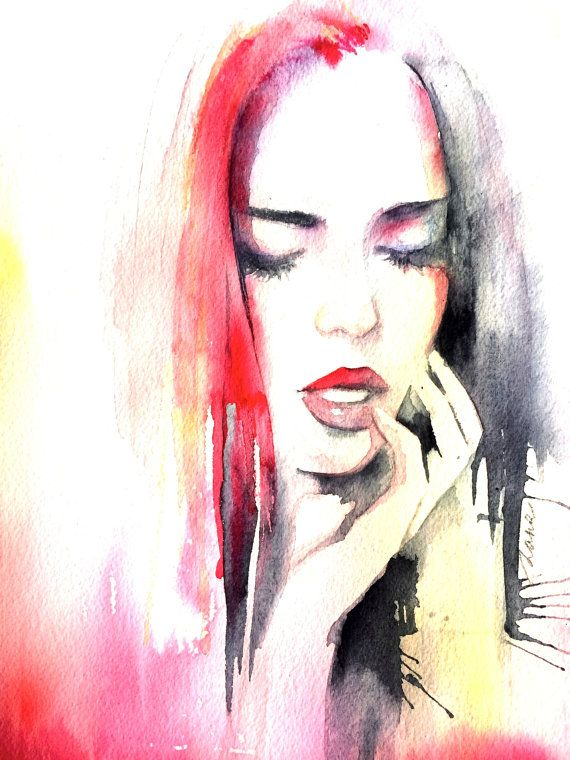Fashion Illustration Original Watercolor Painting by Lana Moes #lanasart.etsy, #watercolor, #fashion illustration