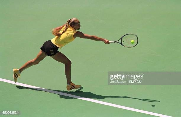 Anna Kournikova of Russia during her doubles victory with partner Barbara Schett against Dawn Buth and Tina Hergold