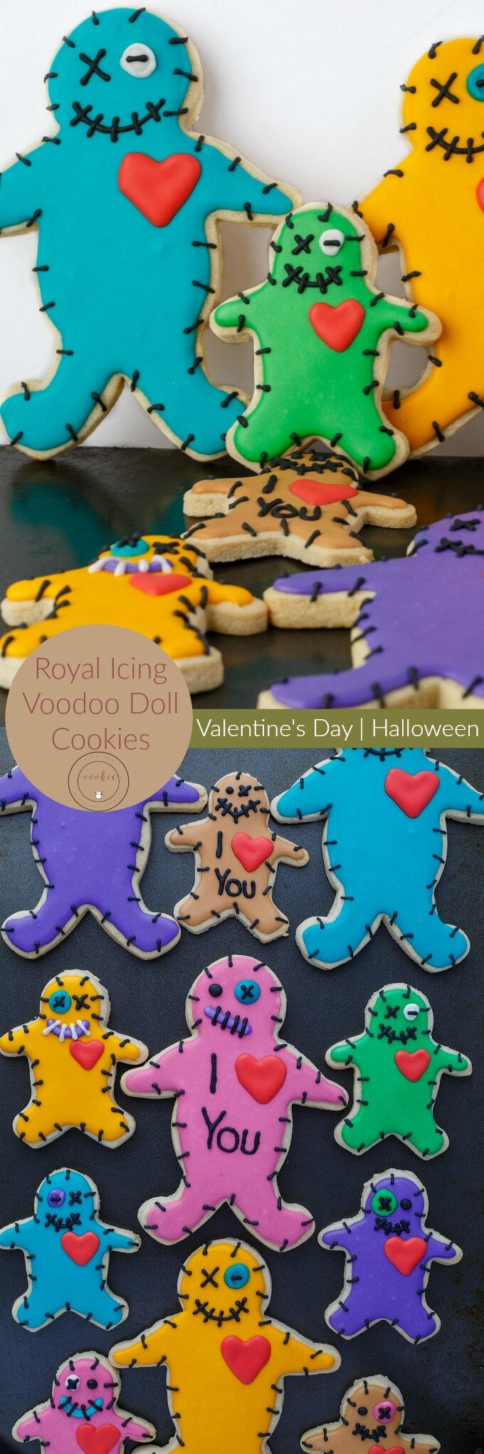 Royal Icing Voodoo Doll Cookies | http://thecookiewriter.com | @thecookiewriter | #cookies | Perfect for Valentine's Day or Halloween, these royal icing voodoo doll cookies are fun and a great project to do with the kids!