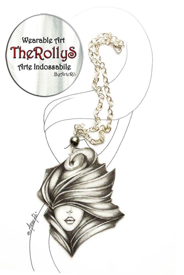 Unconventional Paper Pendant #blackandwhite #paper #paperart #pencil #drawing #necklace #womannecklace #styleforher