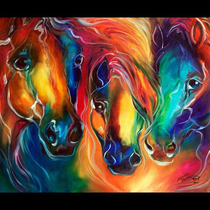 M BALDWIN ORIGINAL OIL PAINTING Color My World with Horses ~ MARCIA BALDWIN