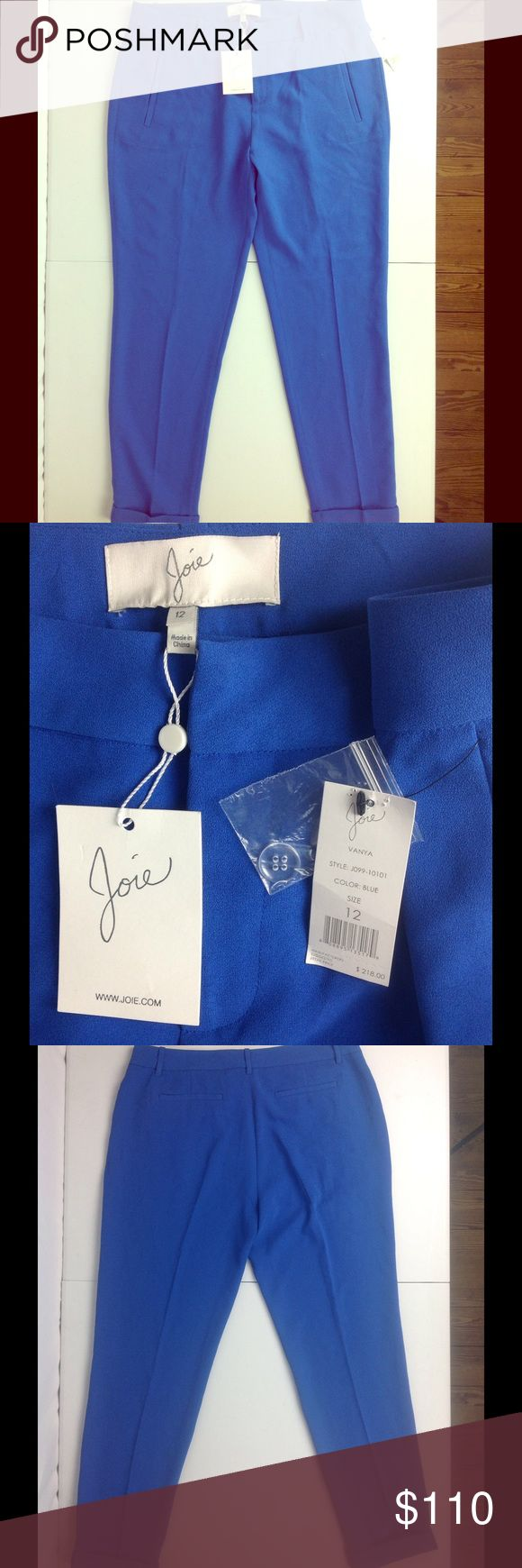 NWT Joie Dress Pants Size 12 Bright Royal Blue New with tags. Joie Pants