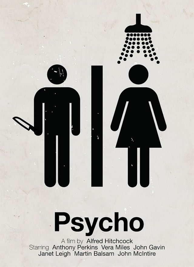 Psycho: Poster Design, Poster Frame-Black, Viktor Hertz, Graphics Design, Alfred Hitchcock, Pictogram Movies, Film Poster, Minimalist Movies Poster, Bathroom Signs