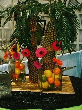 DIY Tropical Party Or Luau Decoration Or Centerpiece Idea With Pineapple  Palm Trees Part 85