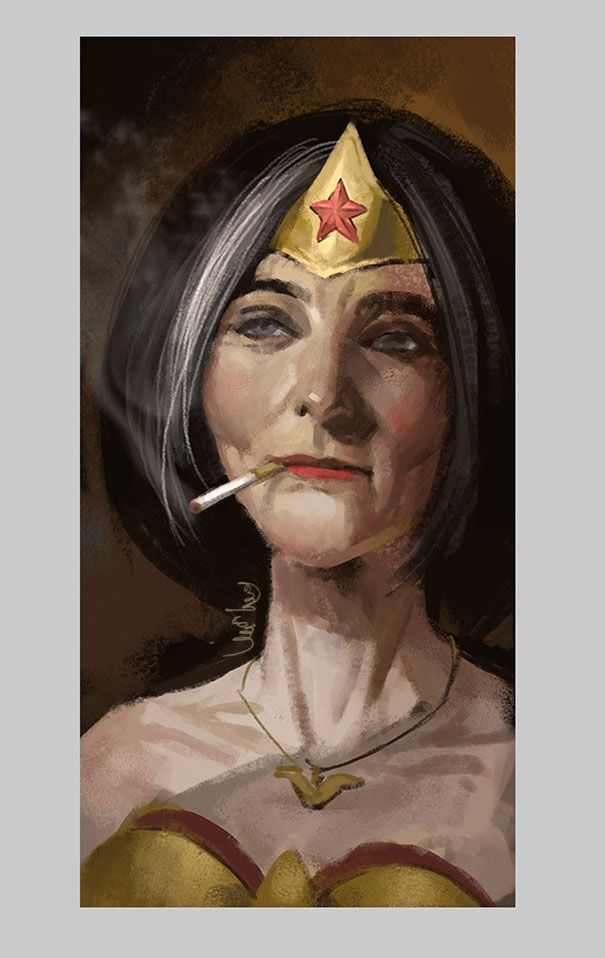 Eddie Liu, an artist based in Shanghai, has created a short but wonderful series that imagines what a few of our favorite superheroes might look like when they grow old.