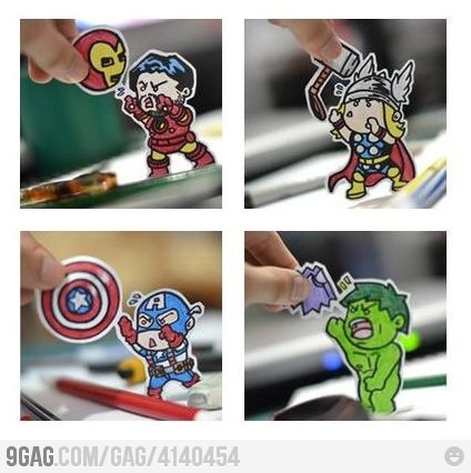 This is too funny. The avengers all have something to rely on, some more than others!