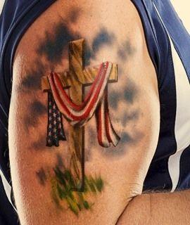 American Flag on a Christian Cross
