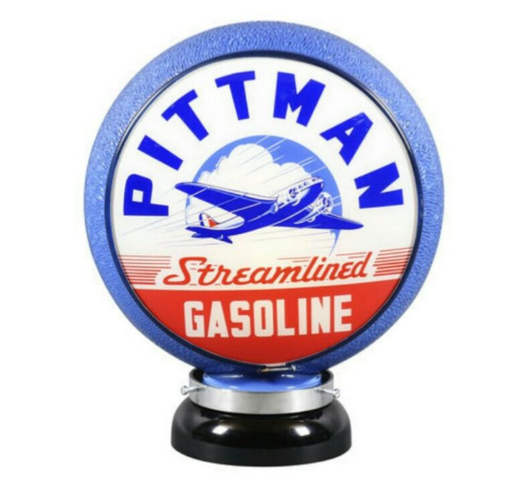 RARE Original Pittman Streamlined Gas Globe - Blue Rippled Gill Body