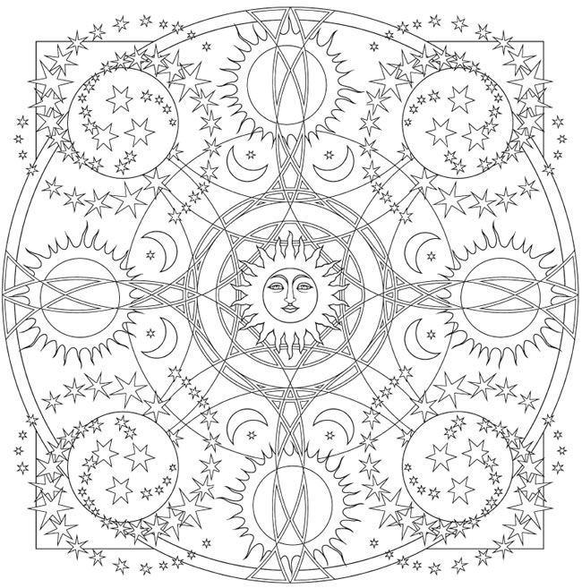 """Creative Haven """"Celestial Mandalas"""" Coloring Page 