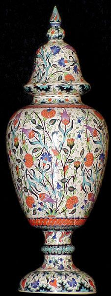 Iznik Design Ceramic Jar - Lale and Karanfil