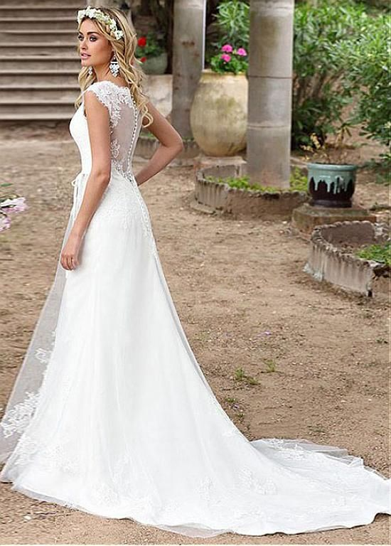 Magbridal Graceful Tulle V-Ausschnitt A-Linie Brautkleider mit Spitzenapplikationen & Gürtel