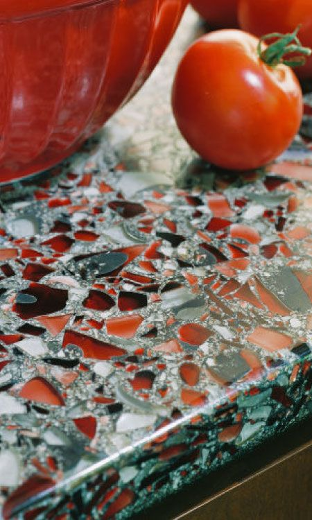 Vetrazzo counter tops combines 85% post-consumer recycled glass with a binder of cement, non-toxic additives, pigments and other recycled materials. US made.