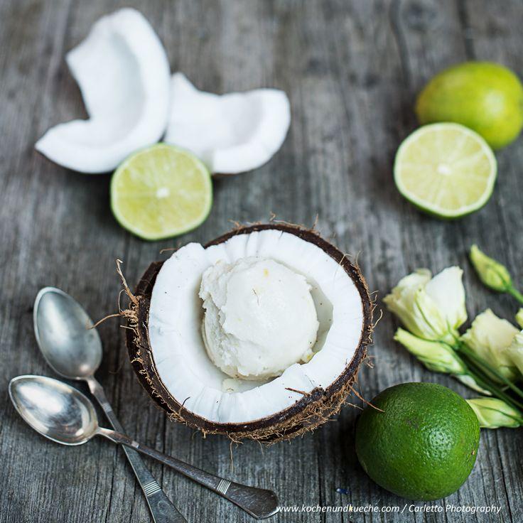 Kokosnuss Limetten Sorbet
