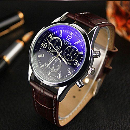 Tonsee Luxus Mode Herren blue ray Glas Quartz Analog Uhren