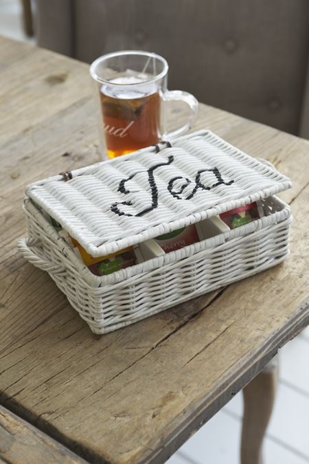 €19,95 Rustic Rattan Tea Box Small White #living #interior #rivieramaison