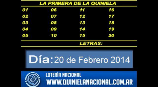 Loteria Nacional - La Quiniela Nacional Primera Jueves 20 de Febrero de 2014. Fuente: www.quinielanacional.com.ar