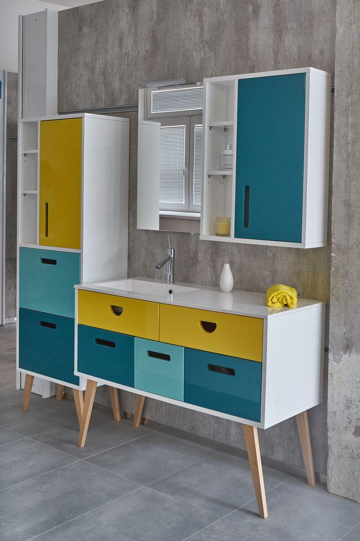 Koupelny inspirace: Barevná retro koupelna inspirovaná 50. léty. Designová koupelna pro milovníky netradičního koupelnového interiéru