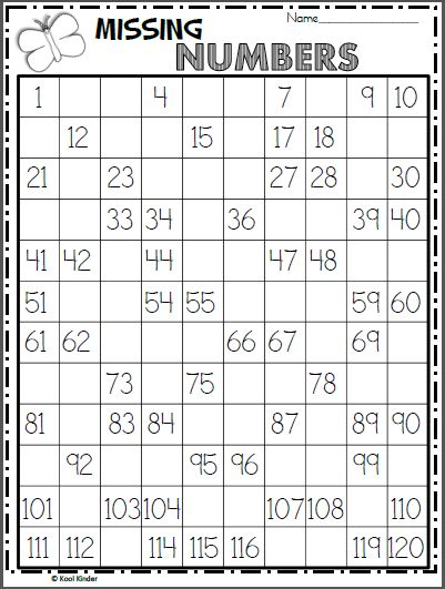 Free Numbers Chart Worksheet - Write the Missing Numbers
