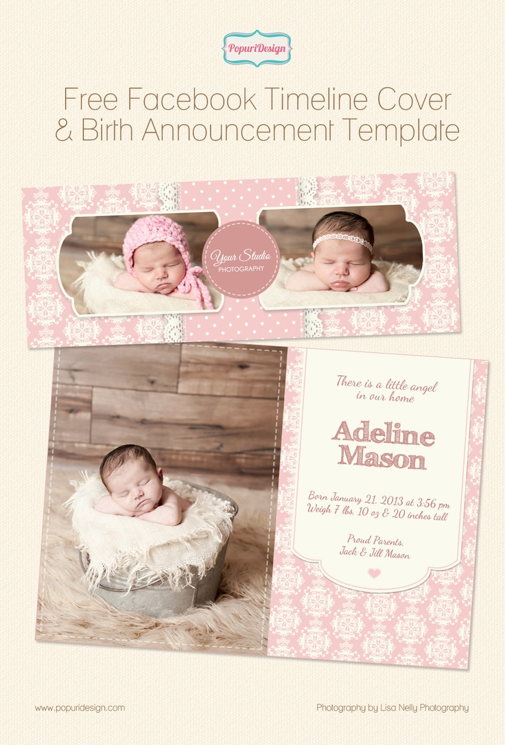 Free templates from popuridesign on for Free online birth announcements templates