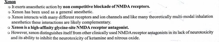 Xenon ... ( Note : Ketamine and Xenon act by NMDA receptor by Non Competitively blocking it i.e They are NMDA receptor antagonists ) 【 Memantine - It is also NMDA antagonist 】