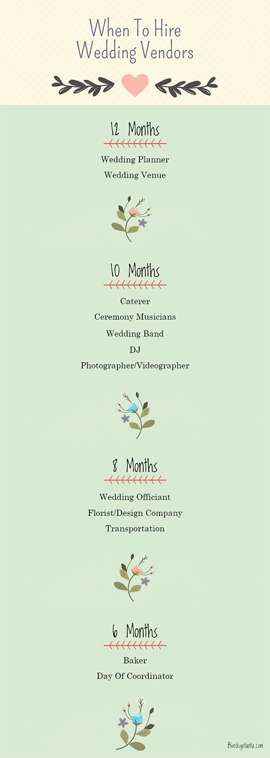 Recently engaged? Congratulations! Use our timeline as a guide to ensure that you've booked your wedding vendors with plenty of time left to enjoy the really fun part - planning the details!