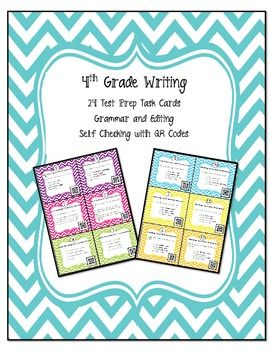 STAAR Writing Test Prep Task Cards with Self Checking QR Codes