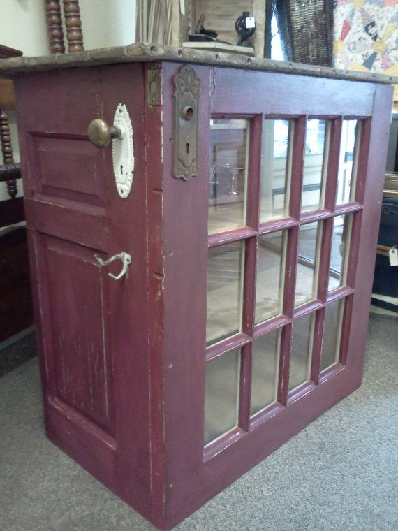 Repurposed Door and Barnwood Kitchen Island by RErusticeclectic