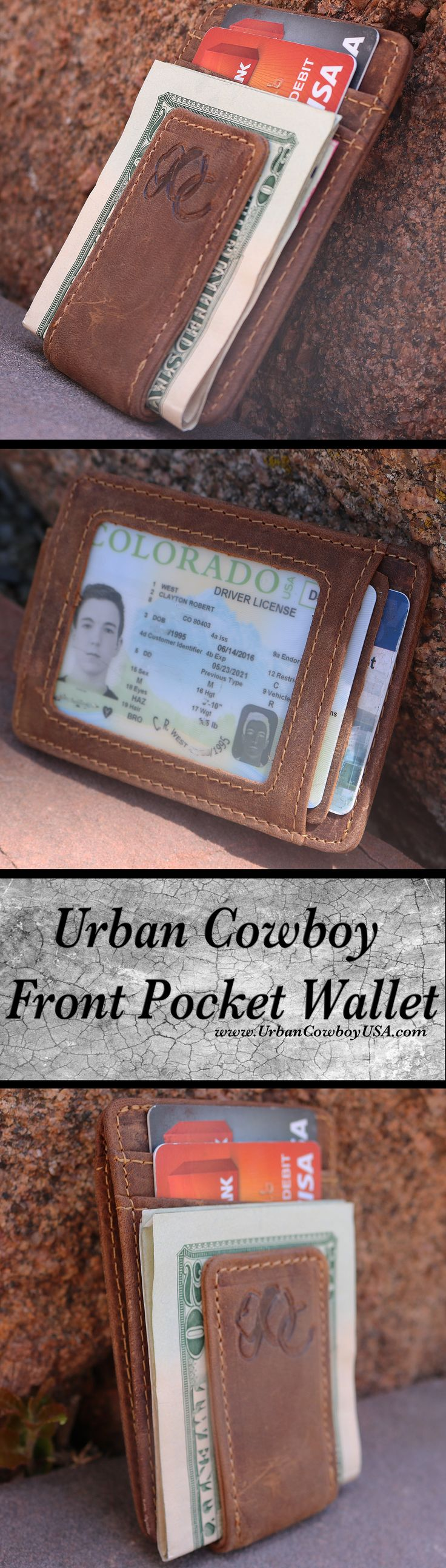 Urban Cowboy Front Pocket Wallet 100% GENIUNE LEATHER - made of the finest distressed cowhide leather