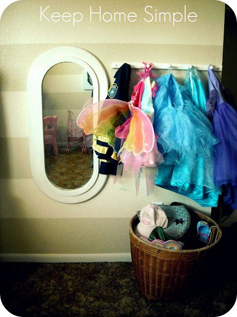 Keep Home Simple: The Playroom- organized dress up area.