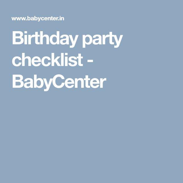 Birthday party checklist - BabyCenter