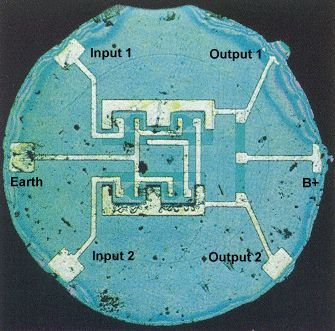 "Robert Noyce's first monolithic silicon ""Integrated Circuit"" chip, 1961."