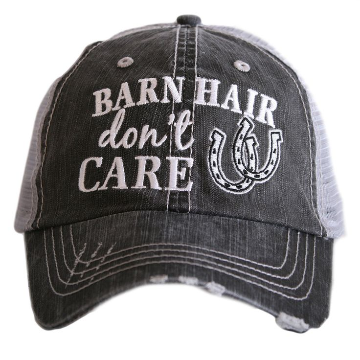 Horse girls love ball caps and this is the perfect one for you! Available in Gray, Mint, and Pink - trucker caps are embroidered and have curved bill - distressed cap gives it a worn look - adjustable
