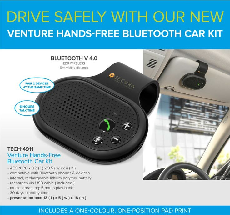 Hands-Free  Bluetooth Car Kit. Supplied by Best Branding. Designed to fit securely onto your sun visor, our new Venture Hands-Free Bluetooth Car Kit ensures your attention stays clearly on the road, getting you safely to your destination.  This handy gadget lets you pair 2 devices at the same time, features 30 days of standby time, 6 hours of talk time, allows for 5 hours of play back for music streaming and comes packaged in a presentation box.  Furthermore, the price of this item includes…