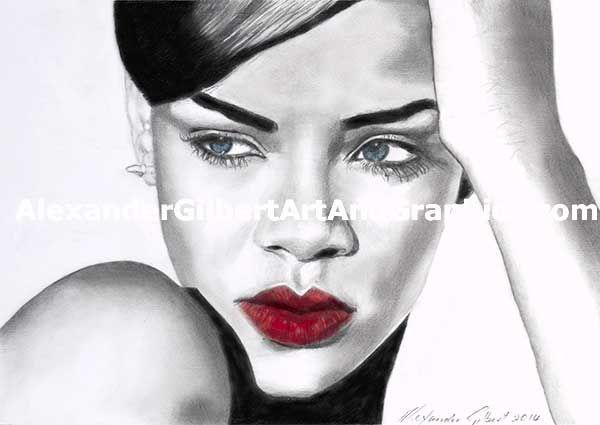 Rihanna celebrity artwork by Alexander Gilbert. Buy prints here: http://fineartamerica.com/featured/rihanna-individual-red-alexander-gilbert.html