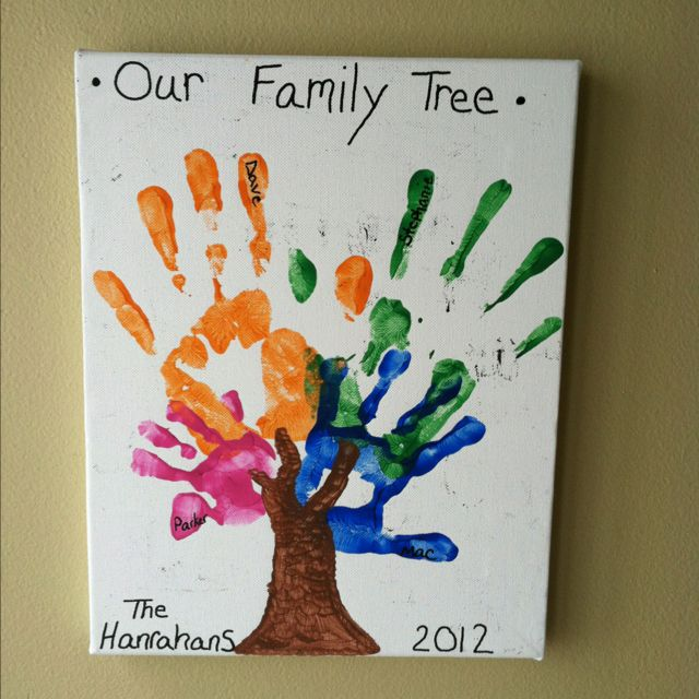 /Family Tree $5.00 canvas from Hobby Lobby, the kids paint, black Elmer's paint pen, and our hands made a cute and very cheap DIY family tree.