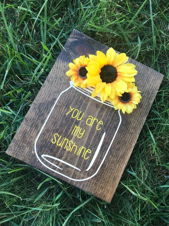You are my sunshine wooden wall decor | hand painted sign | mason jar | sunflower decor | country rustic nursery baby decor | home decor