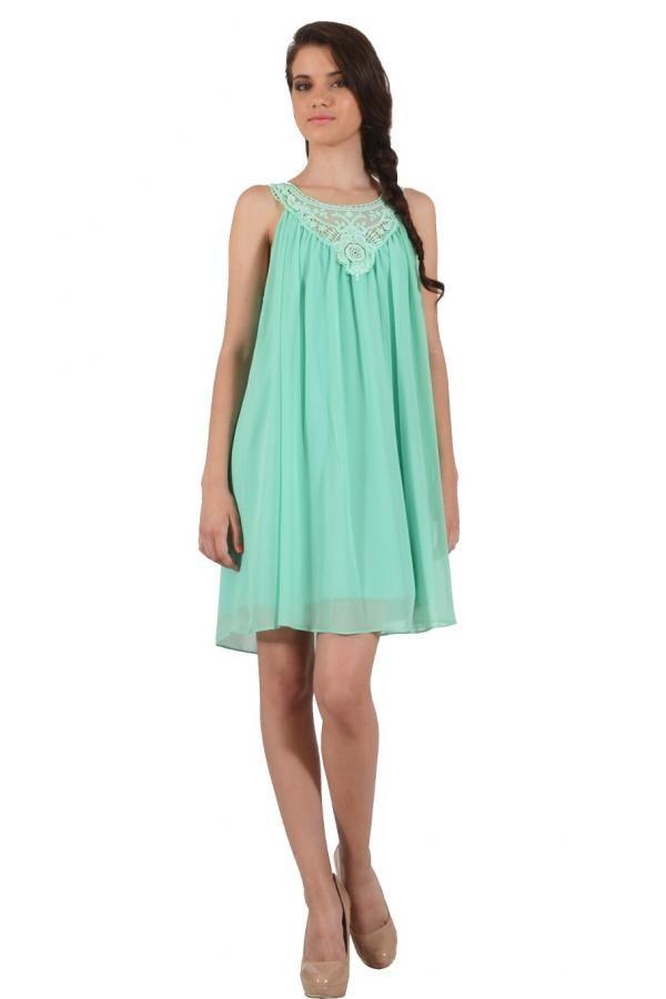 Φόρεμα διαφάνεια κοντό σε ριχτή γραμμή με μοτίφ δαντέλα εμπρός