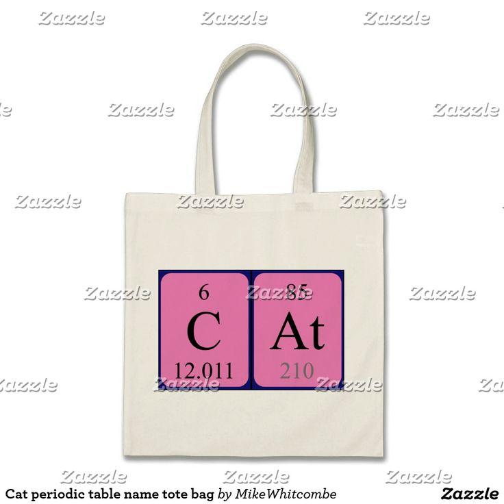 Cat periodic table name tote bag
