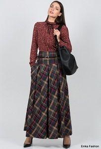 Длинная юбка в клетку Emka Fashion 427-allegra