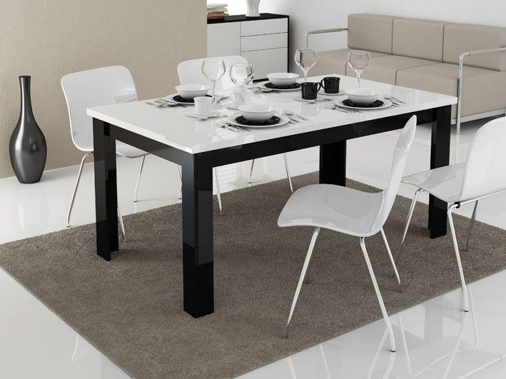 mesa de comedor modelo cuvalo en color blanco y negro con acabado ultra brillante y medidas