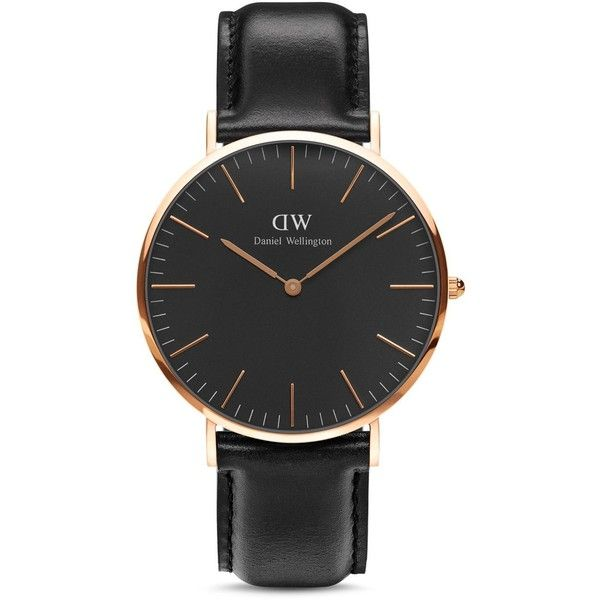 Daniel Wellington Classic Sheffield Watch, 36mm (200 CHF) ❤ liked on Polyvore featuring jewelry, watches, black, daniel wellington watches and daniel wellington